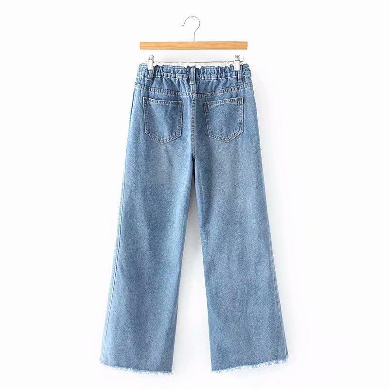 F42 Autumn Winter Plus Size Women Clothing Ankle-length Jeans 4XL Casual Fashion Loose Denim wide leg Pants 8048 2
