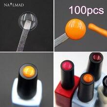 100 sztuk NailMAD naklejki etykiety na żel polski klej do ozdabiania paznokci naklejka na guzik jak zidentyfikować żelowy lakier do paznokci naklejki narzędzie