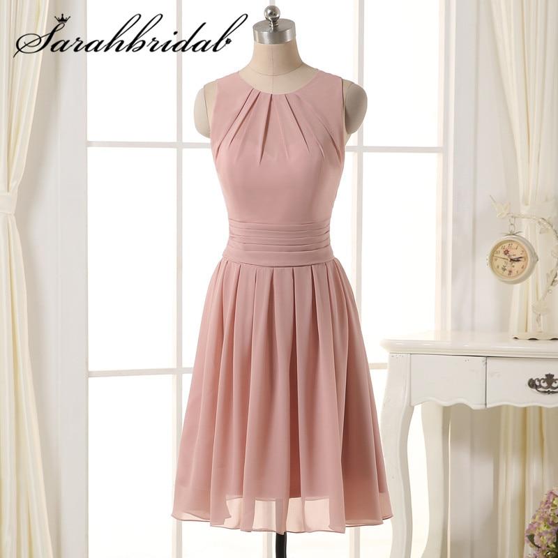 kleit korvi kleit blush sifonki lühike pruutneitsi kleit pleats Odavad põlve pikkusega pruutneitsi kleidid pulm pool Party SD331