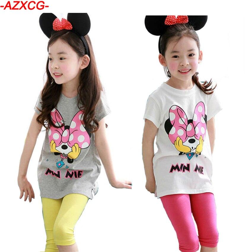 Nová sada 2018 Girls Minnie Clothes Kids Summer 2ks Short-Sleeve - Dětské oblečení