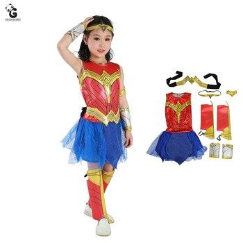 Wonder Woman kostiumy dla dzieci wymyślne dziewczęce sukienki liga sprawiedliwości Spiderman Cosplay kostiumy Halloween dla dzieci wieczerza kostium bohatera