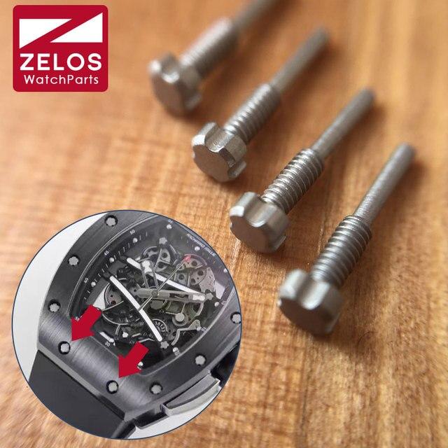 4 قطعة/مجموعة الأسود PVD/فضي/4 شوكات RM ووتش المسمار ل ريتشارد ميل حزام (استيك) ساعة حزام أجزاء أدوات