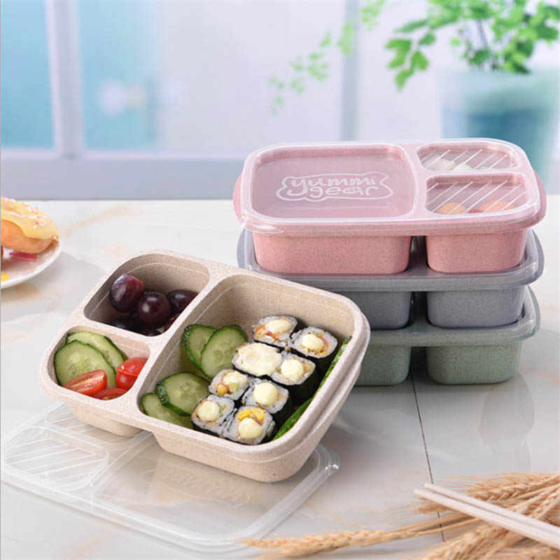 Lunch Box Container Portable 3 Compartment Meal Food Storage Eco-Friendly Microwave Oven RT99