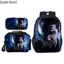 2019Arrivals 3pcs/set Printing Hero Venom Kids Baby School Bags Spiderman Suit Bag Cartoon Children Backpacks for Boys Schoolbag(China)