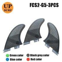 FCS2 G5/G7 FinsSurfboard Fin Honeycomb Fibreglass Fins G5 Green Black Red Blue FCS ii Quilhas upsurf logo