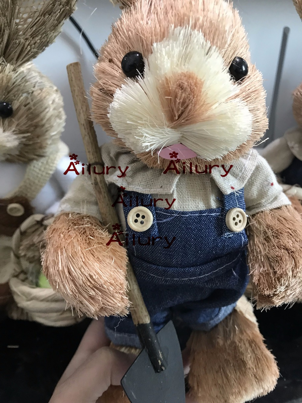 50%off,2pcs,H33cm cute Straw Jeans rabbit,table top decorations,housewarming gifts.Window oranment,Easter decoration.Xmas decor