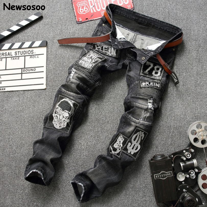 2017 Fashion Brand Mens Jeans casual designer skull hole straight denim trousers luxury classic slim ripped balck jeans for men 2017 fashion patch jeans men slim straight denim jeans ripped trousers new famous brand biker jeans logo mens zipper jeans 604