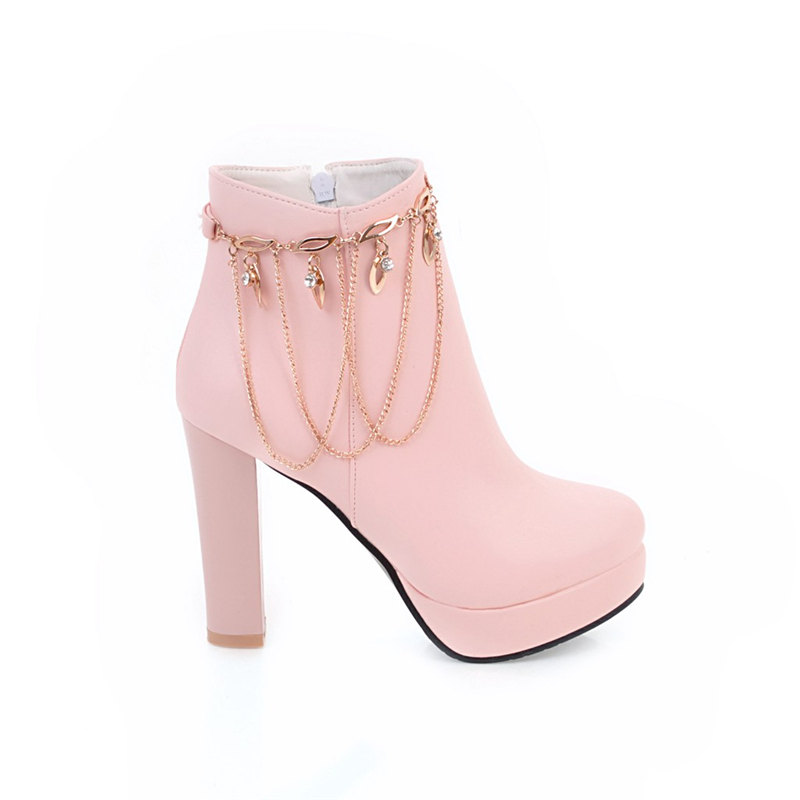 Plataforma Cadenas Otoño Karinluna Mujer Botines Invierno Moda 32 Spike Grande 43 De Zapatos Mujeres Altos blanco Negro Dulces rosado Tamaño Tacones qpOZq6