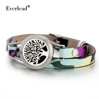 Everkead Tree Of Life Bracelets 2017 New Design Camouflage Leather Essential Oil Diffuser Locket Bracelets Stainless