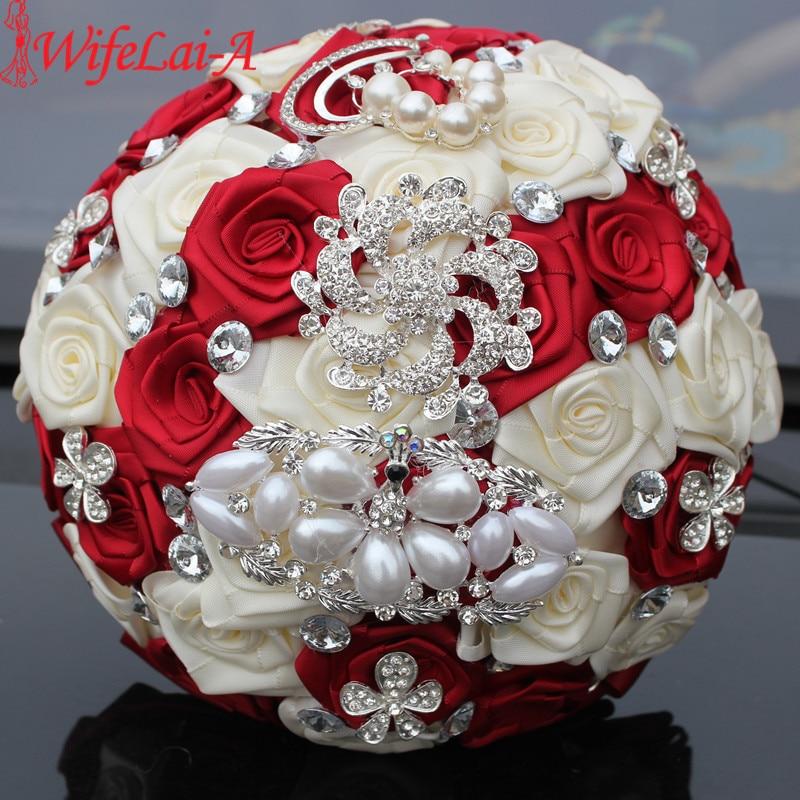 WifeLai-A 1PC Custom Stunning Röd Ivory Wedding Bouquet Crystal - Bröllopstillbehör - Foto 3