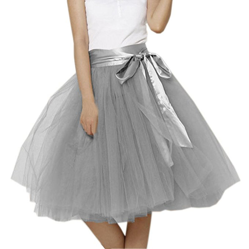 66ca033593 Vintage 5 Layers Tulle Tutu Skirt Women Knee Length Bowknot layered Tulle  Party Prom Skirt Real Photo Puffy Short Midi Skirt