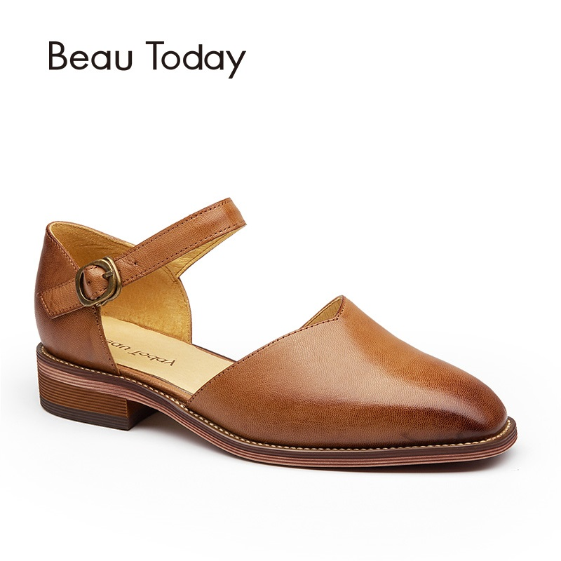 BeauToday Women Sandals Genuine Leather Square Toe Buckle Strap Sheepskin Brand Cover Heel Shoes Handmade 30013