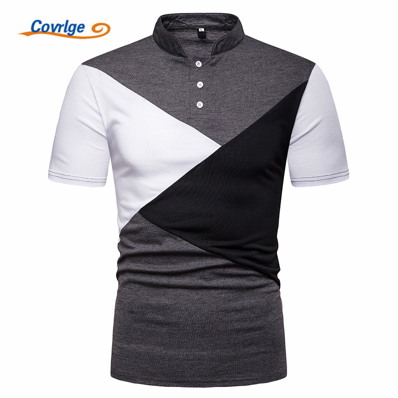 Covrlge Brand Clothing New Men   Polo   Shirt Men Business Casual British Style Male   Polo   Shirt Short Sleeve High Quality MTP107