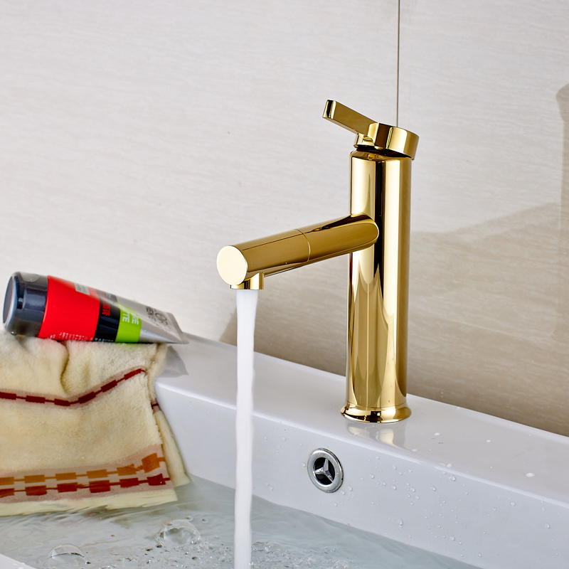 Golden Finished Countertop Swivel Spout Bathroom Sink Faucet Single Handle/Hole Mixer Tap chrome finished bathroom sink tub faucet single handle waterfall spout mixer tap solid brass