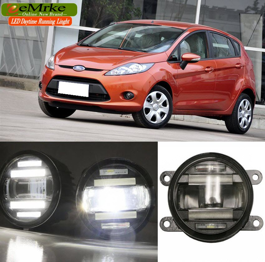 eeMrke Car Styling For Ford Fiesta 2003-2015 2 in 1 LED Fog Light Lamp DRL With Lens Daytime Running Lights 1 pcs diy car styling new pu leather free punch with cup holder central armrest cover case for ford 2013 fiesta part accessories