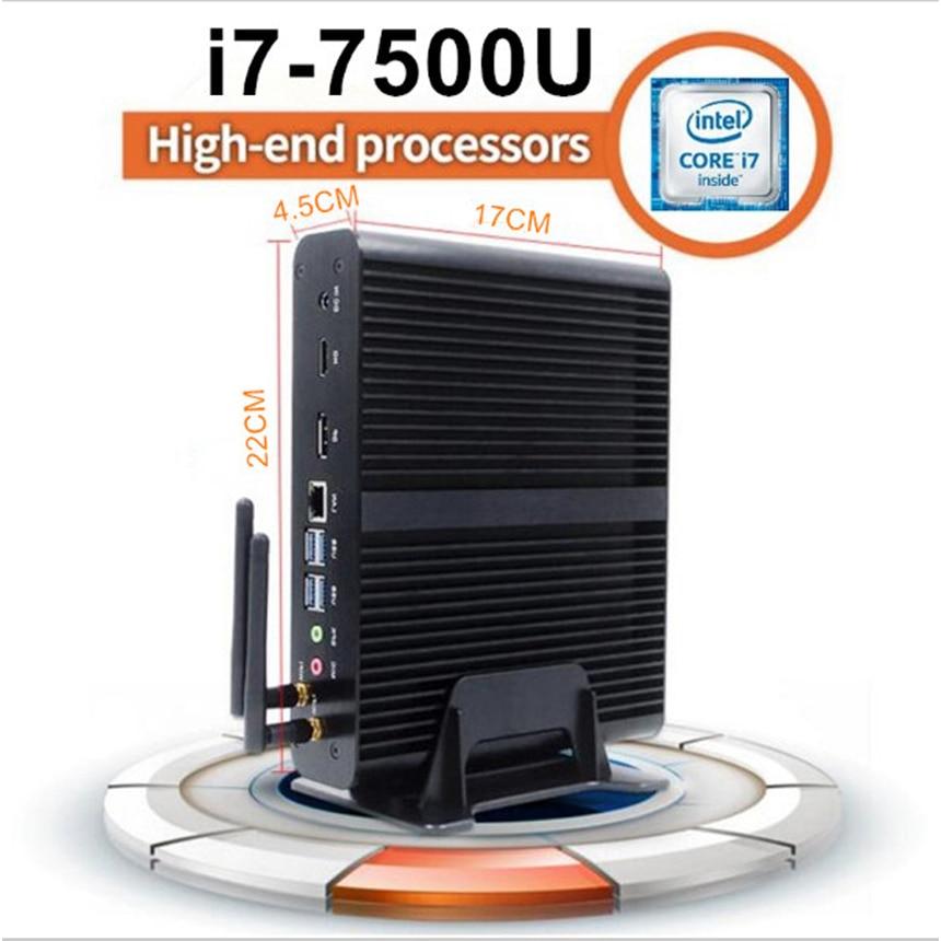 7th Gen KabyLake i7 7500U Mini PC Windows10 Fanless Computer 16GB DDR4 Ram 256GB SSD 1TB