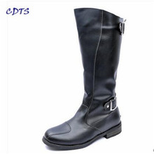 CDTS zapatos mujer Plus:38-44 Men's Knee-high Fashion Punk rock Boots Outdoor motorcycle Boats Riding Men denim Buckle shoes