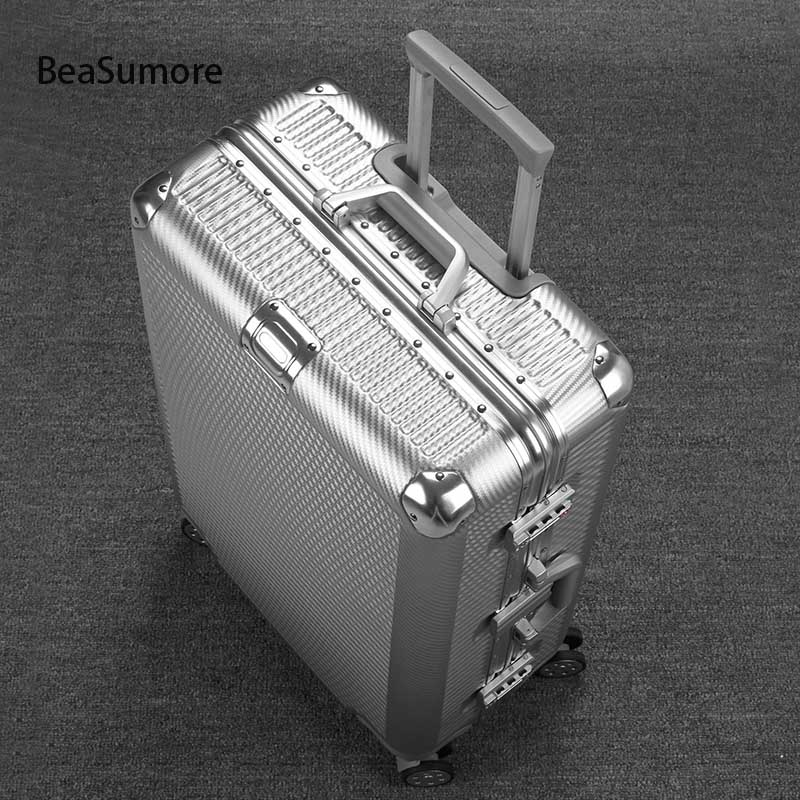 BeaSumore Fashion Woven Pattern Aluminum Frame Rolling Luggage Spinner 20 Inch Cabin Suitcase Wheels Men Business Trolley