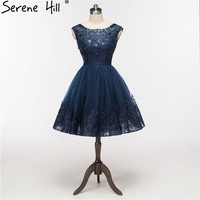 2017 Elegant Sequins Ren Hải Quân Màu Xanh Ngắn Evening Dresses Sexy Low trở lại A-Line Formal Dress Ren Lên Robe De Soiree Serene Hill