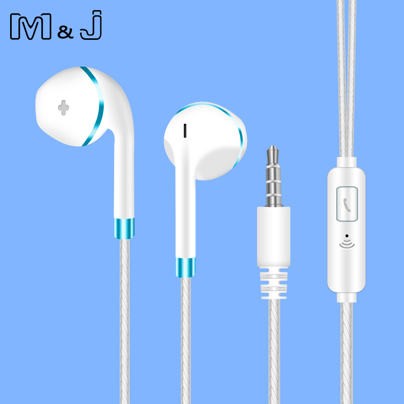 Original M&J V5 Earphone Patent Half In-ear Headphone Earpod Stereo Earbuds Bass Headset with Microphone for Phone MP3 PC 100% original high quality stereo bass headset in ear earphone handsfree headband 3 5mm earbuds for phone mp3 player