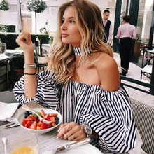 2017 Summer Casual Women Tops Long Sleeve Blouses Stripe Lantern sleeve Slash Neck Ladies Blouses For Female AQ826346