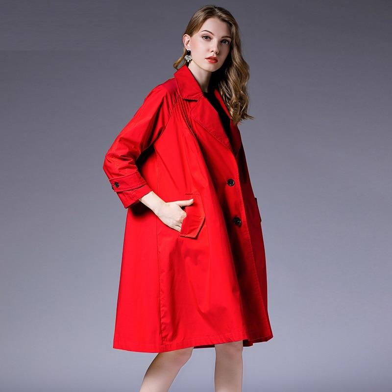 jaune Poitrine Casaco Survêtement Femmes Tranchée Long Pardessus rouge rose Automne Feminino Unique Femelle Manteau 2018 Abrigos Coupe Lâche vent Noir Mujer Pour YqzOw1qx