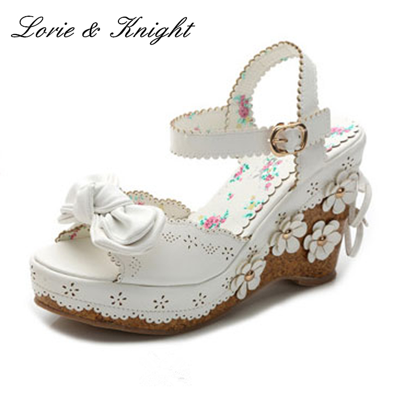 Sweet Pink/White Bow & Flowers Platform Wedge Sandals Princess Lolita Girls Summer Shoes lovely smilling kitty face faux wooden wedge lolita shoes ankle strap sweet pink girls shoes