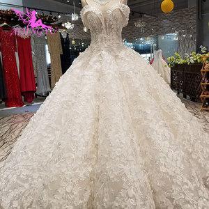 Image 2 - Aijingyu安いデザイナーのウェディングドレスチュールドレスシンプルな真珠の婚約インドクロップトップ長袖ガウンギリシャドレス