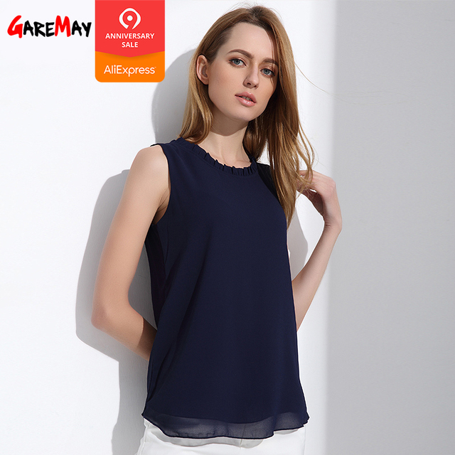 a9d5f998ac668 GAREMAY Shirt Women Summer Chiffon Tops White Sleeveless Blouses For Women  Clothes Ruffle Elegant Vintage Feminine Shirts T098