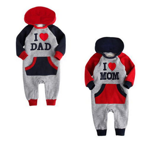 New arrival I Love Mam Dad Baby Kids Girls Boys long sleeve Thicken Jumpsuit Outfits Set Hoodie Costume 0-24 months