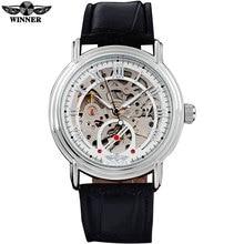 2016 победитель известный бренд мужчины просто автоматическая self-ветер часы скелет белый циферблат прозрачное стекло серебряный чехол кожаный ремешок