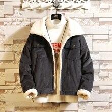 2018 Winter Thicken Warm Wool Coat Men Corduroy Jacket Man Jackets and Coat Trendy Warm Fleece Thick Denim Jacket Plus Size 5XL