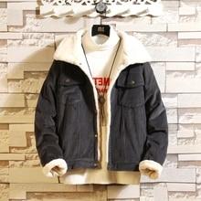 2018 الشتاء رشاقته الدافئة الصوف معطف الرجال كودري سترة رجل السترات و معطف العصرية الدافئة الصوف سميكة الدنيم سترة حجم كبير 5XL