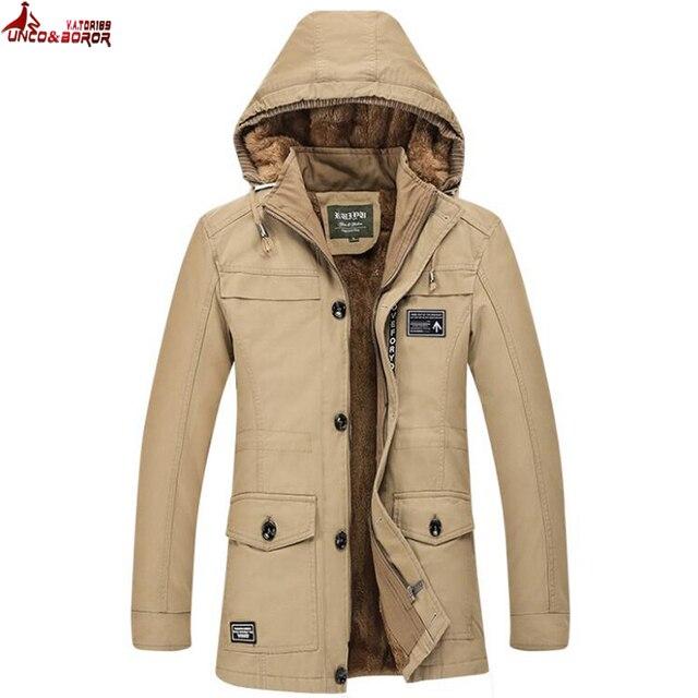 Flash Sale UNCO&BOROR Plus Size M~6XL winter coat men long thick fleece trench jacket autumn men`s outwear cotton casual hooded parka coats