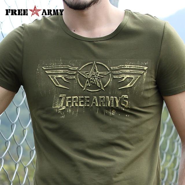 Free Army T Shirt Male Top Quality Cotton Army Green Casual Printing Short Sleeve T Shirt Men Brand Clothing Fashion T-Shirt 6