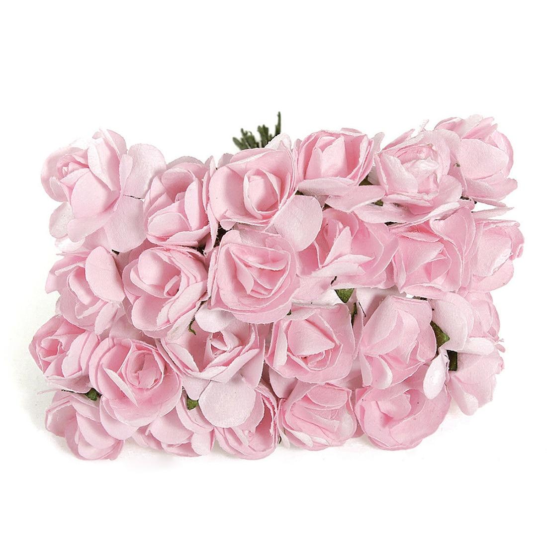 144 unids mini pequeño artificial rose buds flores de papel diy craft decoración