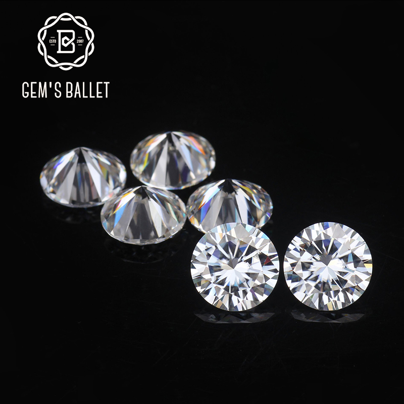 GEM'S BALLET 1.0Ct 6.5mm D Color VVS Clarity Round Brilliant Cut Lab Grown Loose Moissanite Stone for Jewelry Making