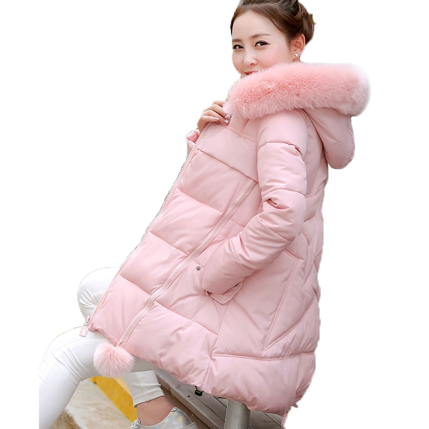 ФОТО 2016 brand new thickening faux fur collar down parkas women winter warm hooded cloak loose cotton-padded long jackets kl0614