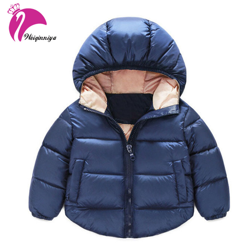 Winter Cotton Unisex Thick Jackets Fashion Children Down Parkas Solid Zipper Hooded Windbreaker Outerwear Coats Baby Clothes Hot casual 2016 winter jacket for boys warm jackets coats outerwears thick hooded down cotton jackets for children boy winter parkas