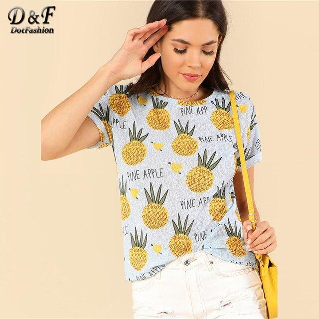 e5e90aa8b81 Dotfashion Letter Pineapple Print Tee Women Vacation Tops Fashion Clothing  2019 Summer Short Sleeve Womens Cute Beach T-Shirt