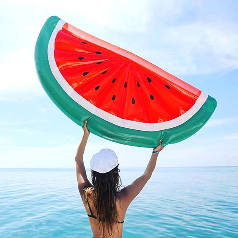 ФОТО Large 180*90cm Half Watermelon Pool Floats Giant Inflatable Toy with feet pump Summer Hot Floating Bed Beach Toys Air Mattress