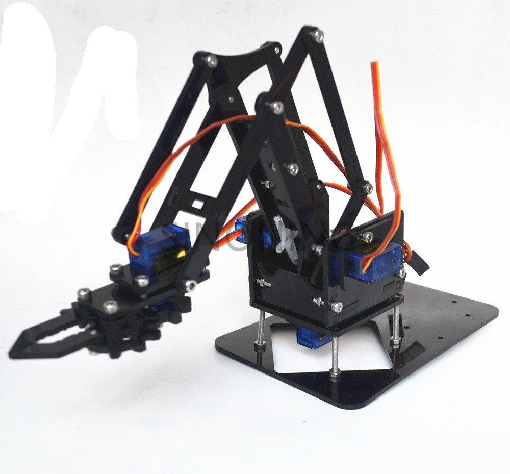 Acrylique Mécanique Poignée Robot 4 DOF arm arduino Créé D'apprentissage Kit SG90