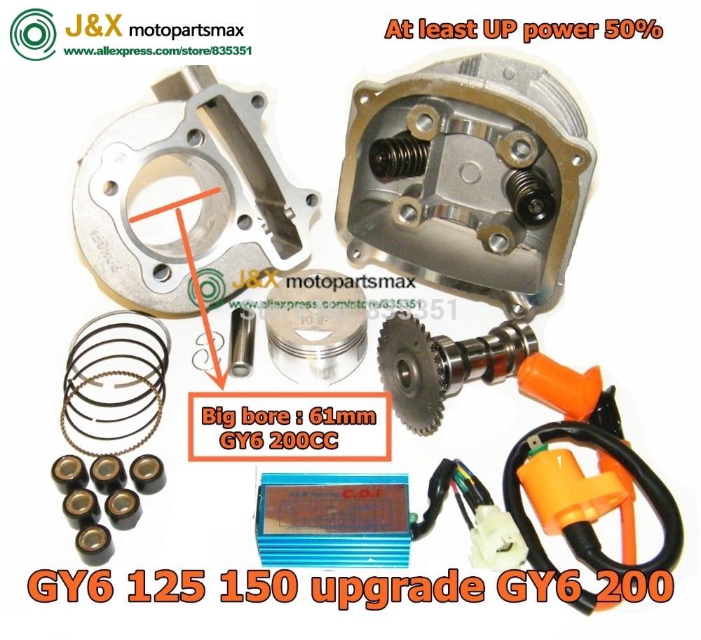 GY6 125cc 150cc mise à niveau à GY6 200cc, grand alésage 61mm 157qmj 152qmi moteur, ajouter de la puissance au moins 50%, tête de kit de cylindre de course