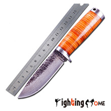 hunting knife outdoor camping straight knife high hardness +forging leather handle sharp protective