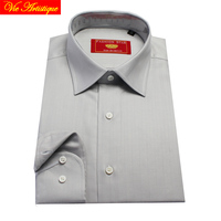 Male Long Sleeve Business Formal Dress Cotton Grey Herringbone Shirts Men S Big Plus Size Casual