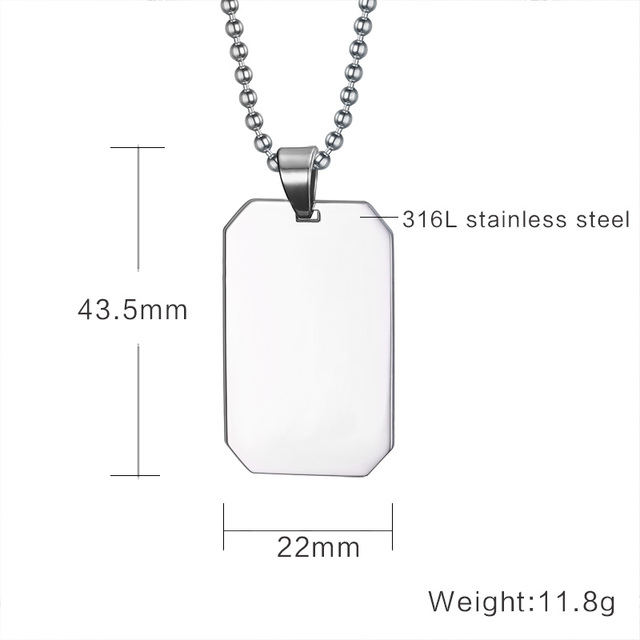 Stainless Steel Dog Tag Necklace Pendant