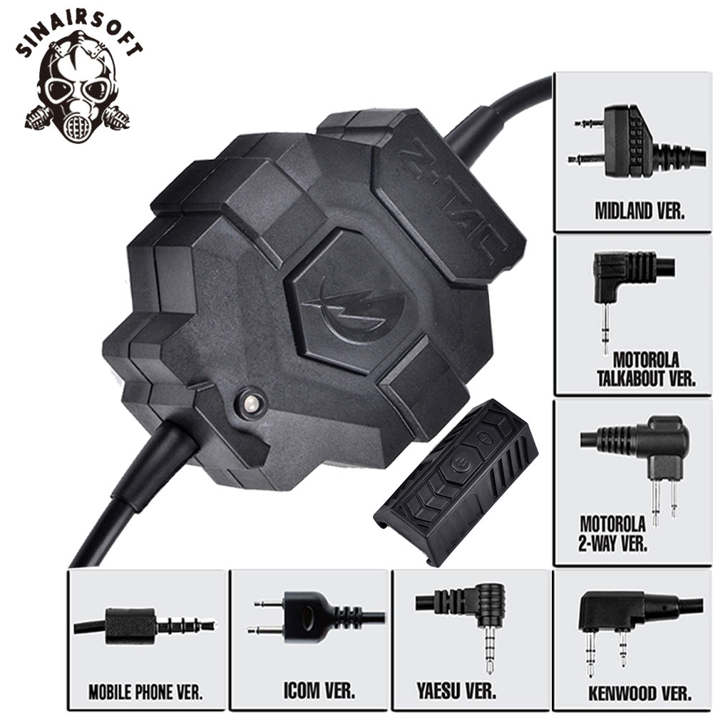 SINAIRSOFT Pour Motolora Talkabout/2-façon/Kenwood/ICOM/Yaesu/Midland Tactique Chasse Z123 Ztac style Sans Fil PTT Pour Casque