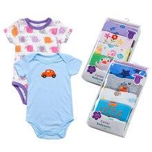 5 piece/lot 100%cotton Newborn Baby bodysuit Wholesale Summer Boys Animal style Short Sleeve infant clothing