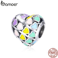 BAMOER Romantic 925 Sterling Silver Rainbow Heart Color Enamel Charms Beads fit Original Bracelets DIY Jewelry Making SCC902(China)