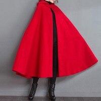 Rosetic Women Red Cloak Poncho Women Winter Coat New Fashion Hooded Collar Woolen Overcoat Female Autumn Loose Cape Poncho Femme